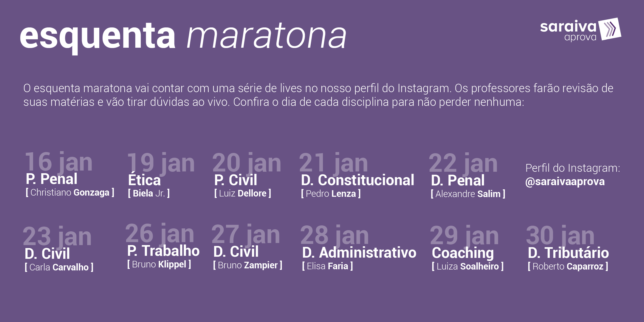 Cronograma com os horários das lives da maratona OAB
