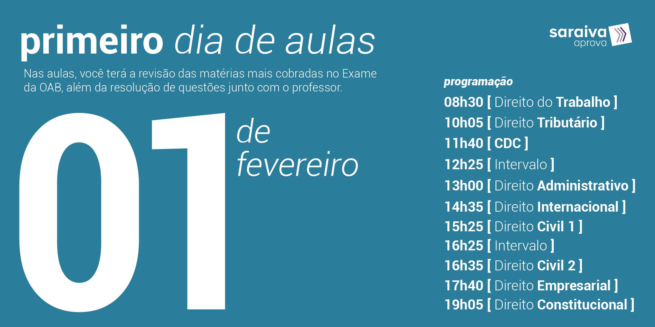 Cronograma com as aulas da maratona OAB do dia 1 de fevereiro