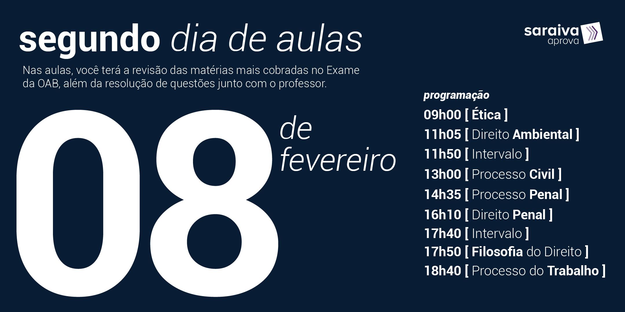 Cronograma com as aulas da maratona OAB do dia 8 de fevereiro